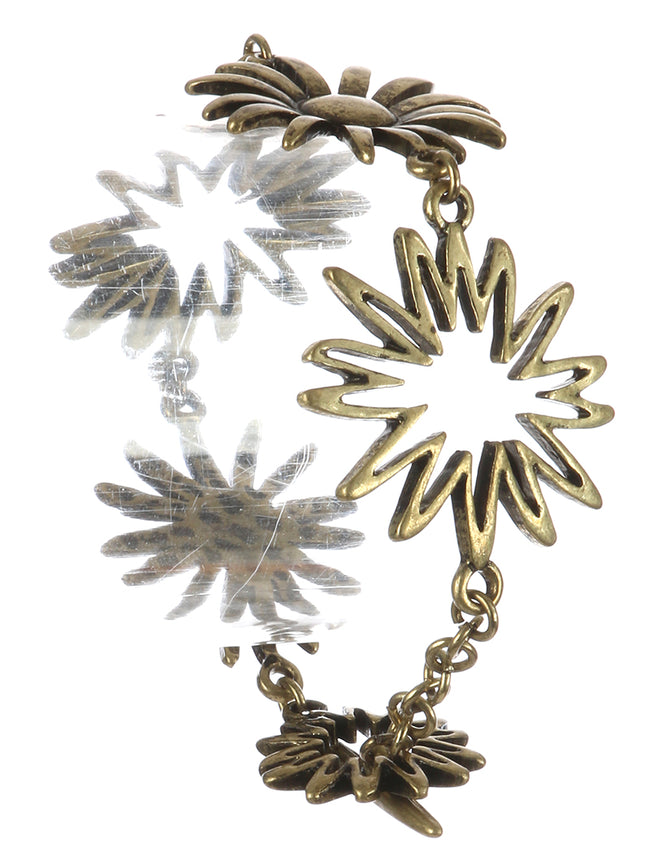 Gold Aged Finish Metal Cutout Flower Chain Bracelet