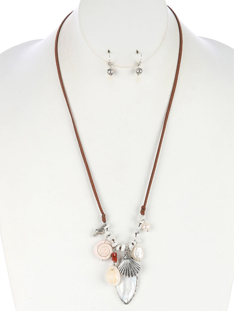 White Sealife Charm Faux Suede Adjustable Necklace And Earring Set