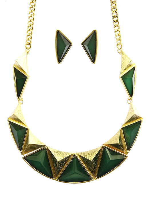 Green Geometric Homaica Stone Bib Necklace And Earring Set