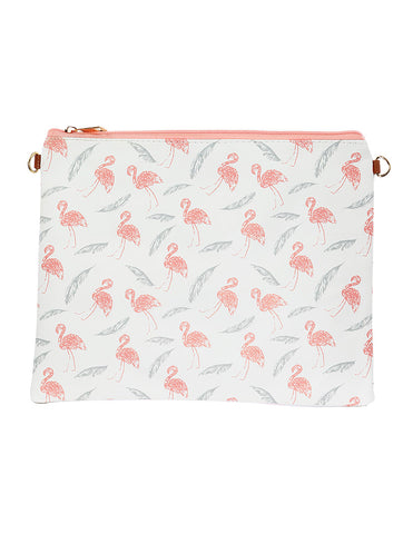 Mulit Color Flamingo Feather Print Vinyl Clutch Bag Accessory