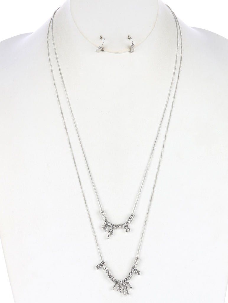 Sliver Two Layer Metal Fringe Necklace And Earring Set