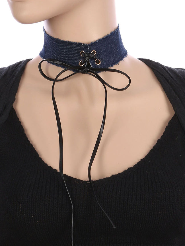 Blue Faux Leather Laced Center Denim Fabric Choker Necklace