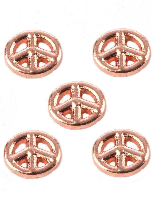 Gold 5 Pc Peace Sign Metal Floating Charm