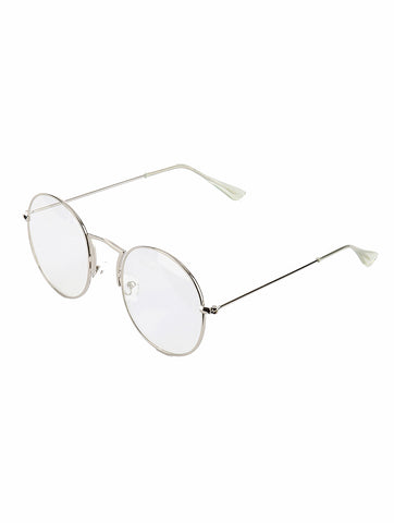 Sliver Round Clear Lens Sunglass
