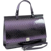 Dasein Women's Patent Croco Embossed Faux Leather Briefcase Handbag