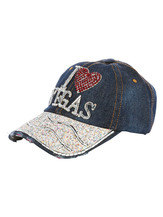 Blue I Heart Vegas Distressed Denim Fashion Hat And Cap - HAH387007DBLU