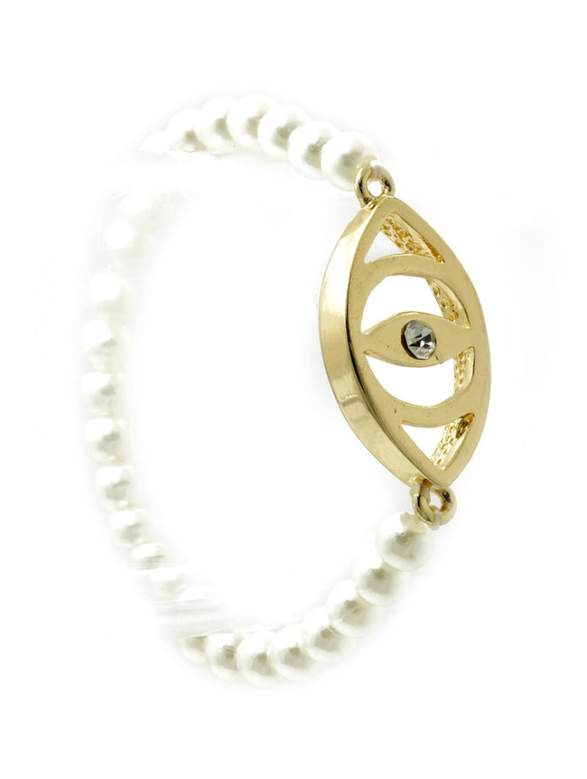 Cream Metal Evil Eye Pearl Stretch Bracelet