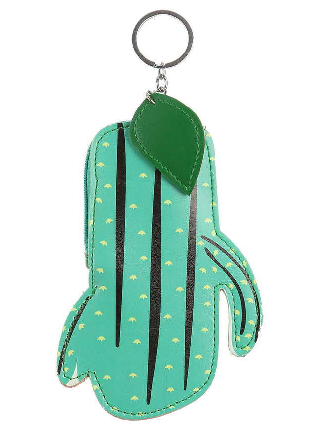 Green Vinyl Cactus Pouch Bag Accessory Key Chain