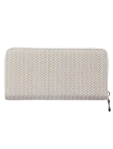 Beige Straw Woven Clutch Wallet Bag Accessory