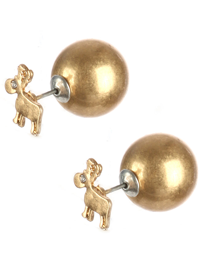 Clear Reindeer Doublesided Earring