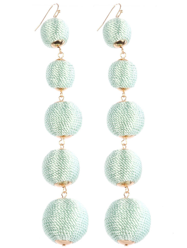 Mint Green Color Cord Wrapped Five Chunky Ball Earring