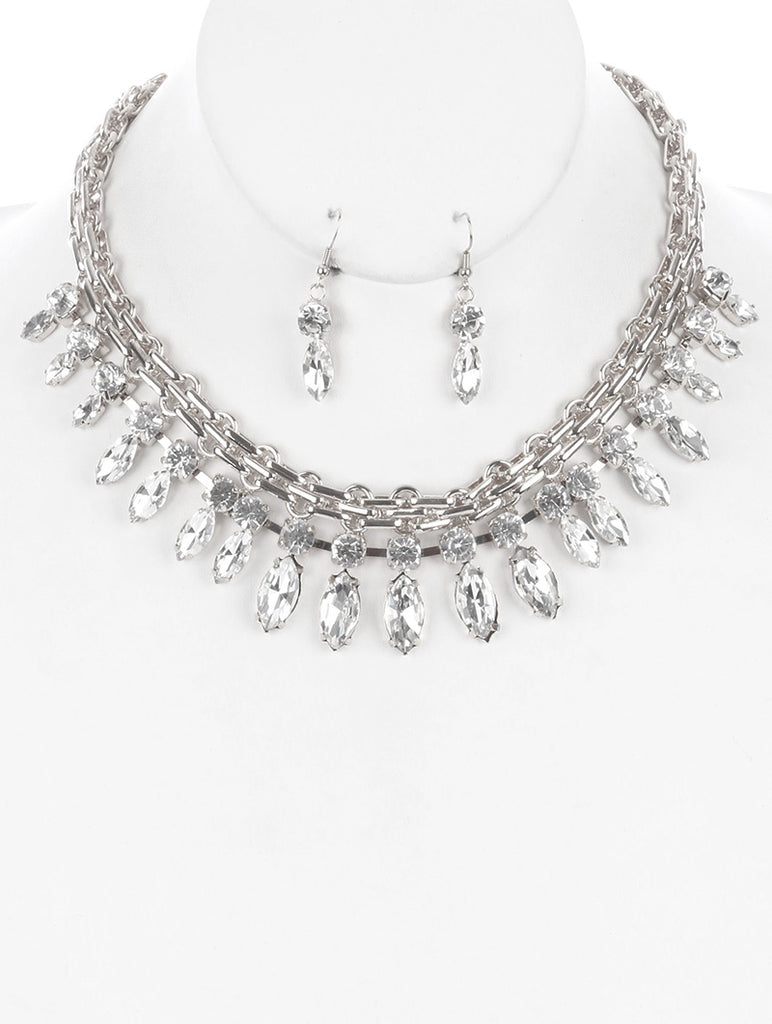 Clear Marquise Round Glass Stone Multi Link Bib Necklace And Earring Set