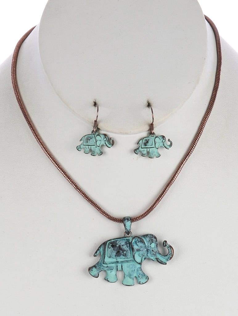 Gold Aged Finish Metal Elephant Pendant Necklace And Earring Set