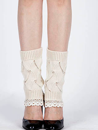 Beige Lace Top Knitted Leg Warmer Image#2