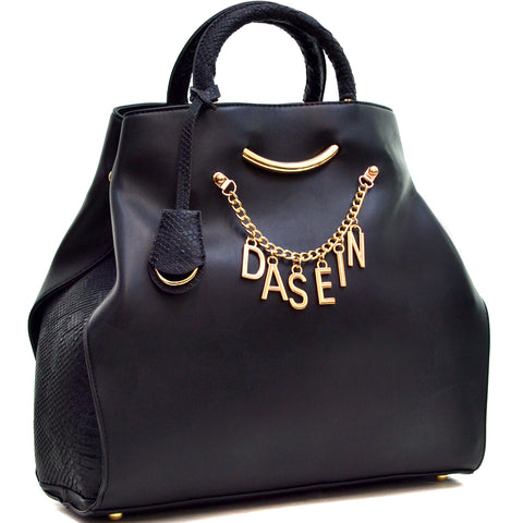 Dasein Charm Tote Bag with Embossed Trim