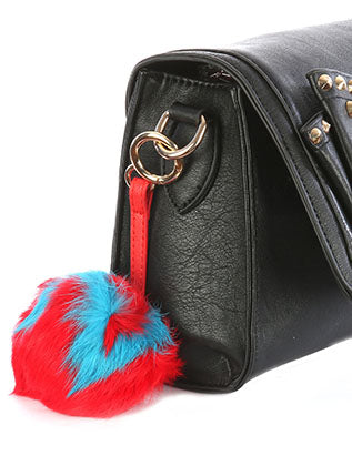Red Faux Fur Pom Pom Bag Accessory Key Chain Image#2