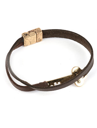 Brown Aged Finish Metal Message Key Bracelet Image#2