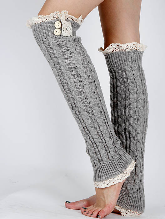 Gray Lace Top And Bottom Over The Knee Leg Warmer
