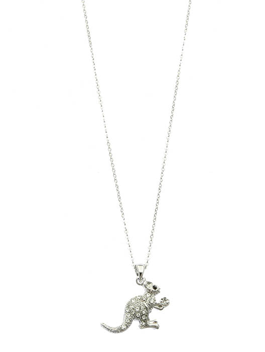 Clear Pave Crystal Stone Metal Ka Ngaroo Pendant Necklace