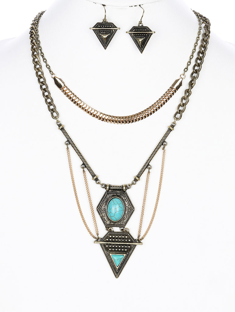 Turquoise Bohemian Style Multi Layer Necklace And Earring Set