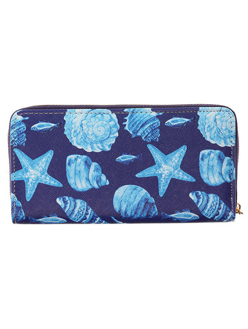 Mulit Color Sealife Print Vinyl Clutch Wallet Bag Accessory