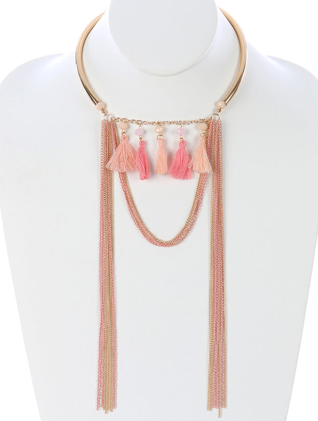 Pink Long Chain Fringe Hollow Metal Choker Necklace