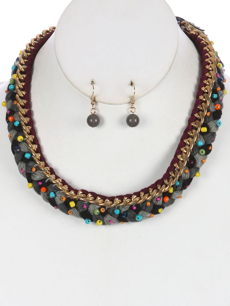 Mulit Color Braided Yarn Bib Necklace And Earring Set