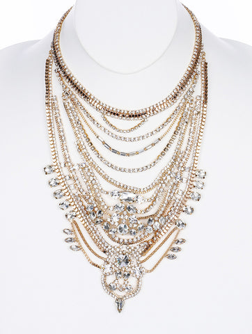 Clear Vintage Style Statement Bib Necklace