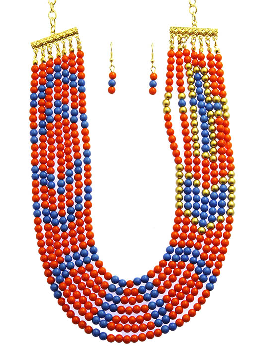 Orange Multi Strand Bib Necklace And Earring Set
