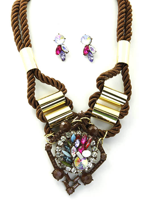 Brown Shourouk Twisted Cord Necklace And Earring Set