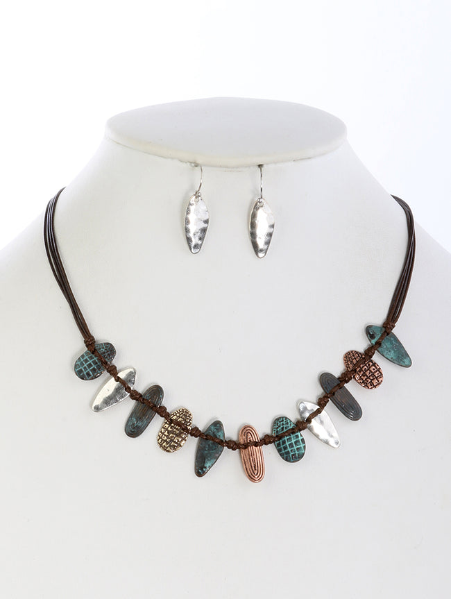 Brown Aged Finish Metal Multi Cord Strand Fashion Necklace And Earring Set - DGS14071PTBRO