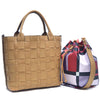 Image of Dasein Faux Leather Checkered/Plaid Designed Tote with Bucket Bag inside