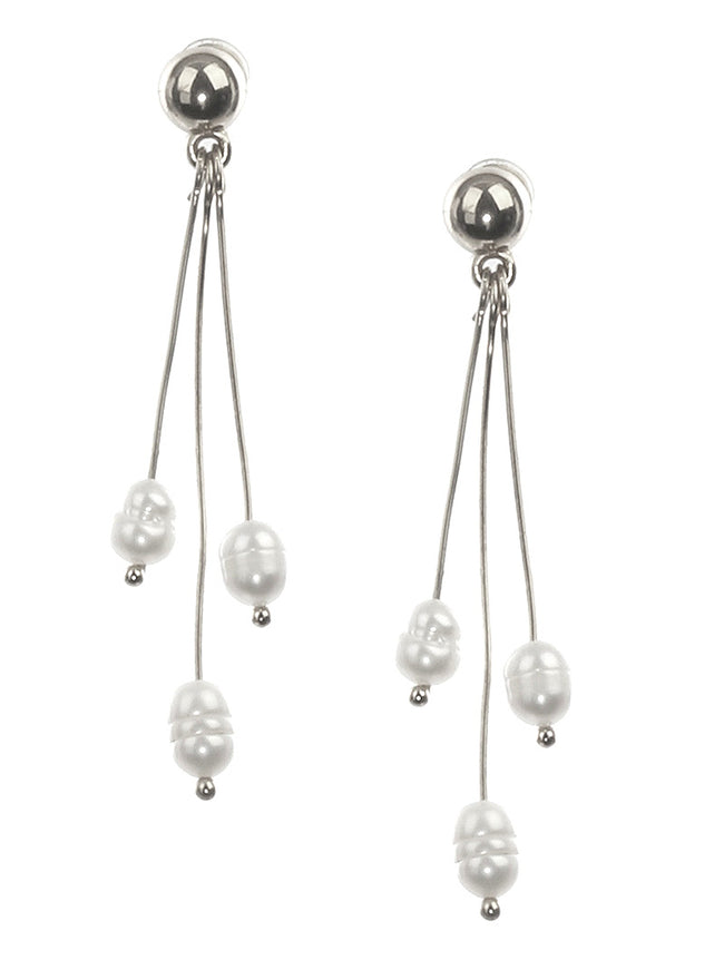 Cream Fresh Water Pearl Charm Three Wire Fashion Earring - BUE3383RDCRM