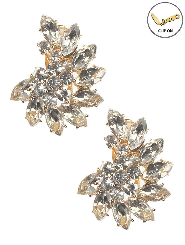 Clear Crystal Stone Cluster Clip On Fashion Earring - MME26183CEGDCLR