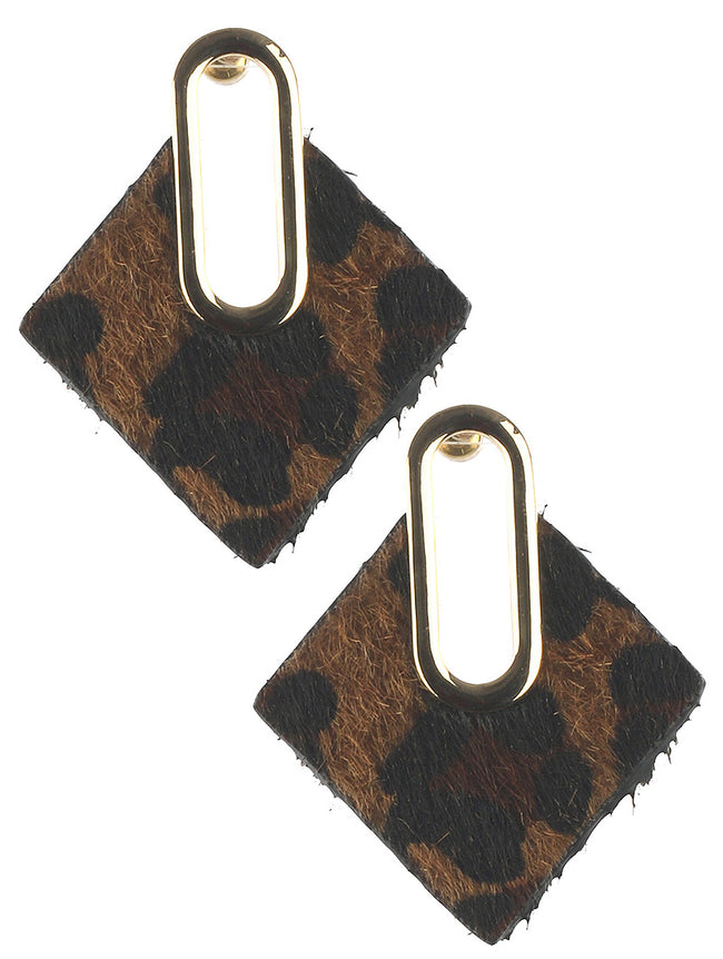 Brown Animal Leopard Print Faux Fur Skin Fashion Earring - BUE10311GDBRO