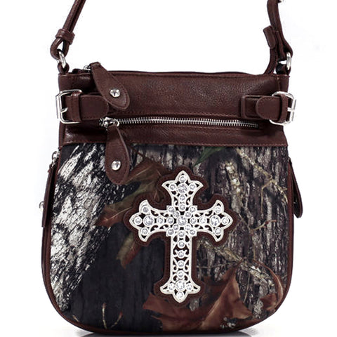Mossy Oak® Camo Rhinestone Western Cross Messenger Bag w/Faux Buffalo Trim