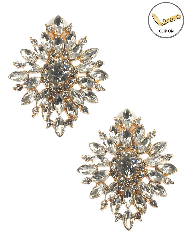 Clear Crystal Stone Cluster Clip On Fashion Earring - MME25666CEGDCLR