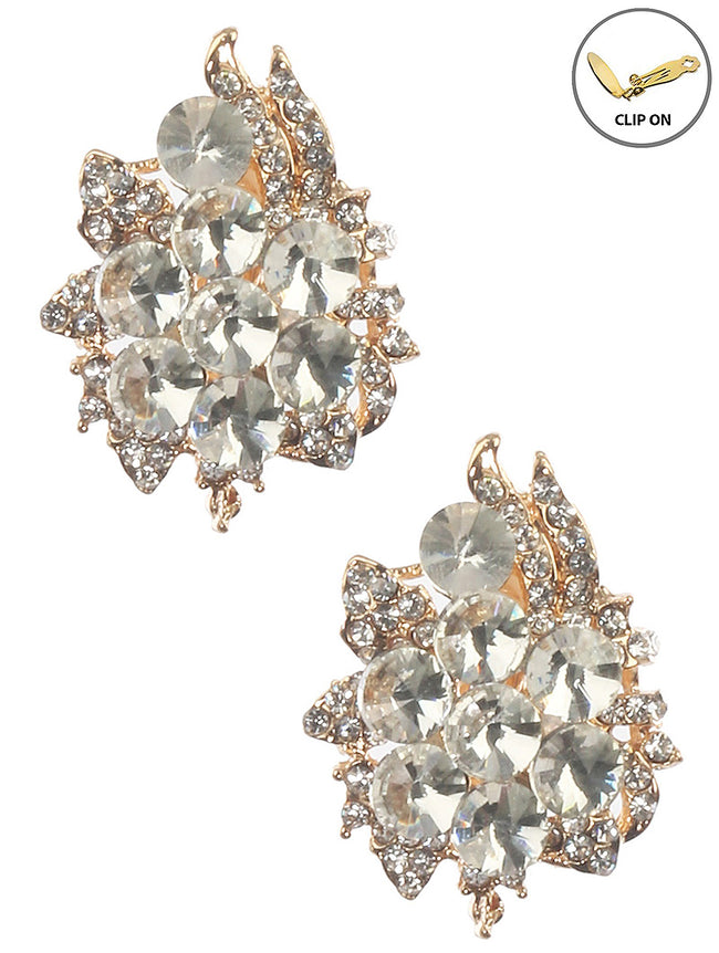 Clear Crystal Stone Cluster Clip On Fashion Earring - MME25765CEGDCLR