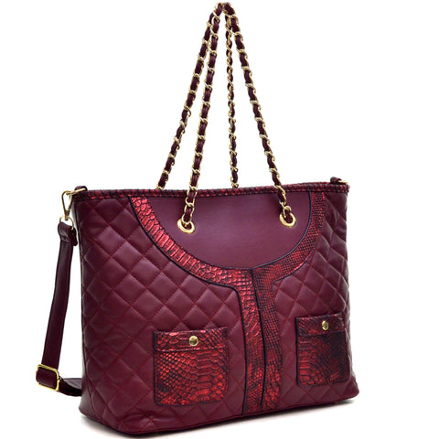Dasein® Faux Leather Quilted Tote Bag with Snake Embossed Trim