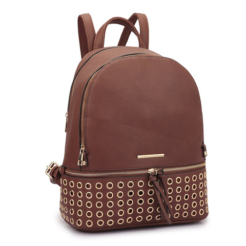 Dasein Faux Leather Round Studded Backpack