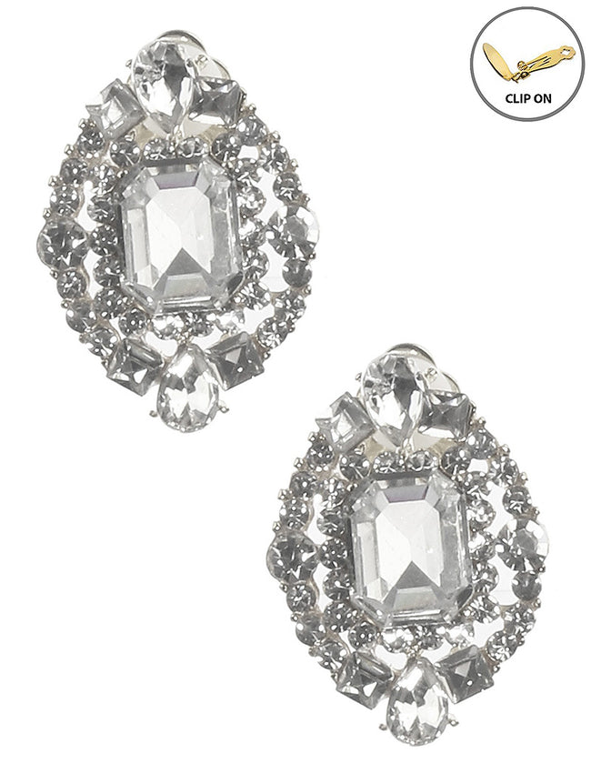Clear Crystal Stone Cluster Emerald Cut Clip On Fashion Earring - MME26186CERDCLR