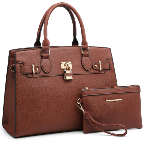 Dasein Faux Leather Satchel with Padlock deco and with Matching Wristlet