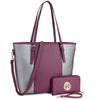 Image of Dasein Large Classic Two Tone Tote with Free Matching Wallet