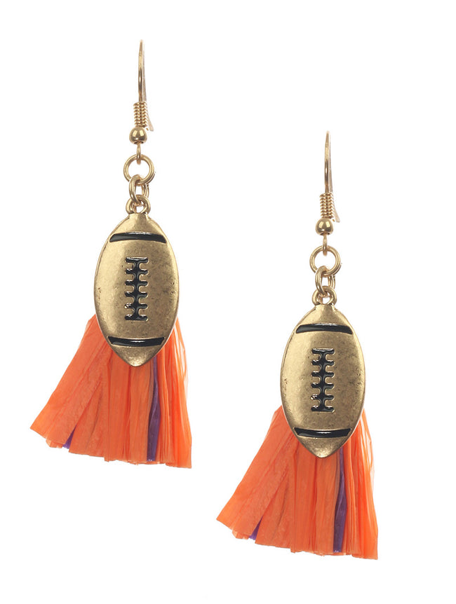 Orange Matte Finish Metal Football Charm Fashion Earring - MME26199GDHYORG
