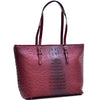 Image of Dasein® Ostrich Faux Leather Tote with Patent Leather Trim