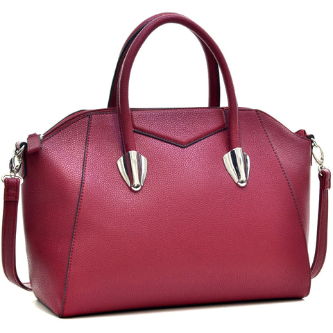 Dasein® Faux Leather Weekender Satchel with Removable Strap