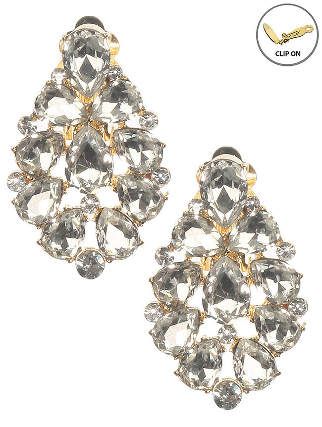 Clear Crystal Stone Cluster Clip On Fashion Earring - MME26168CEGDCLR
