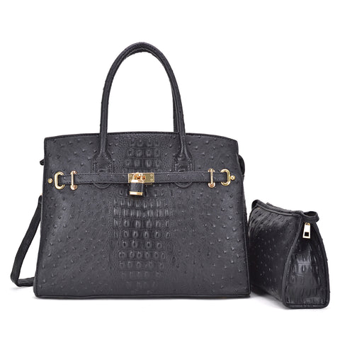 Ostrich Embossed Satchel with Padlock Deco and with Matching Organizer bag