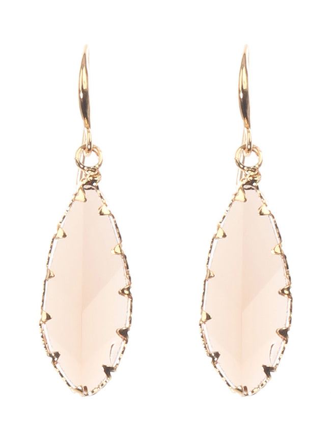 Faceted Translucent Stone Leaf Charm Fashion Earring - MME26009GDLCT