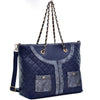 Image of Dasein® Faux Leather Quilted Tote Bag with Snake Embossed Trim